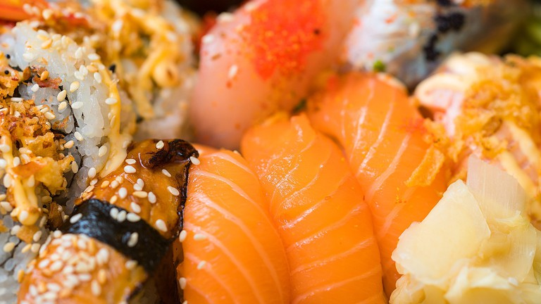 A close up of some sushi