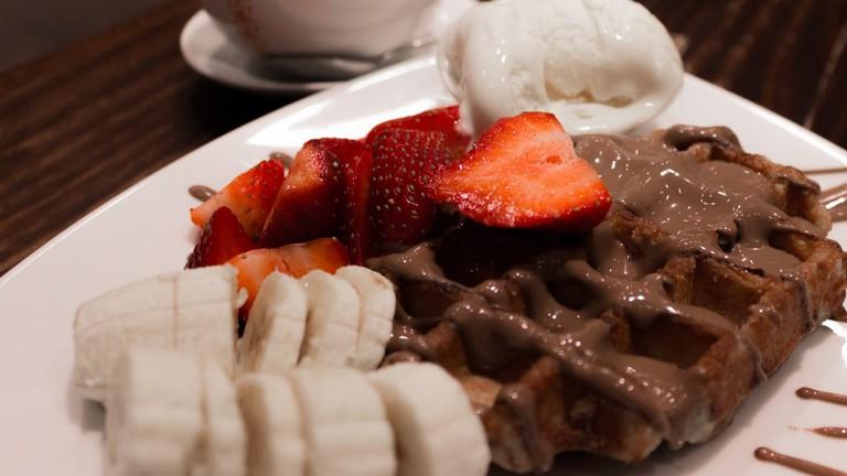 Max Brenner's Tutti Frutti waffles