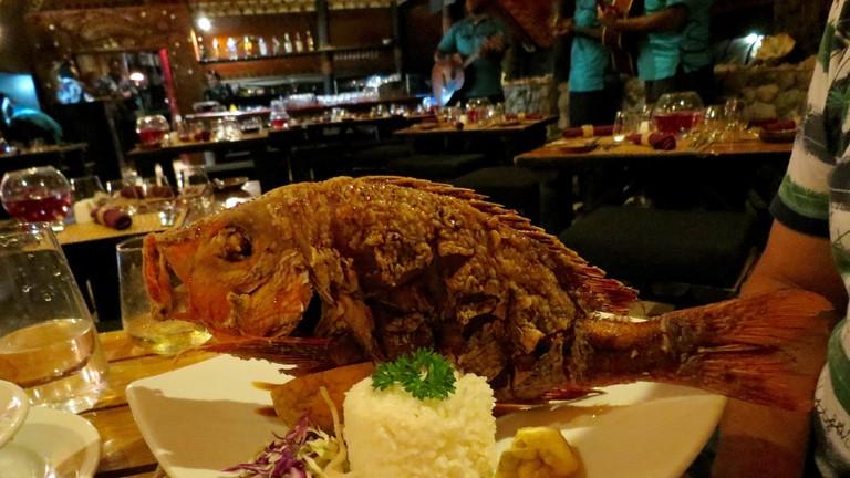 Fish dish at Wicked Walu, Fiji