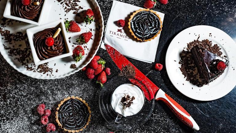 Chocolate fudge cake and strawberries