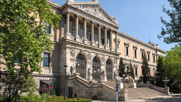 The facade of Madrid's Biblioteca Nacional
