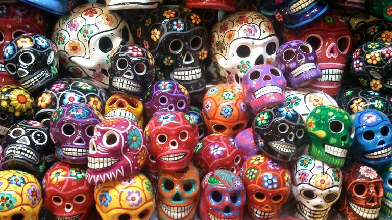 Day of the Dead skulls in the Mercado de Coyoacán