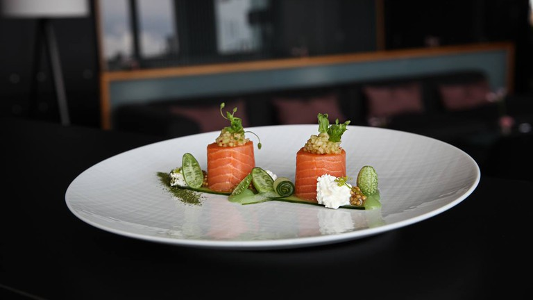Lake trout with smoked  birches, cucumber, dill and cream cheese