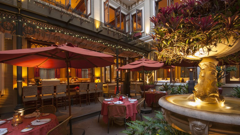 A luxurious menu in a luxurious place