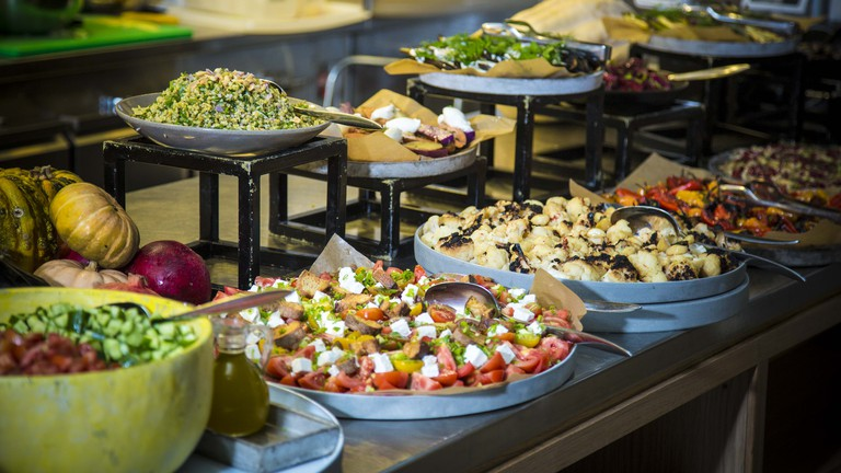 The brunch buffet at Tel Aviv's Mashya