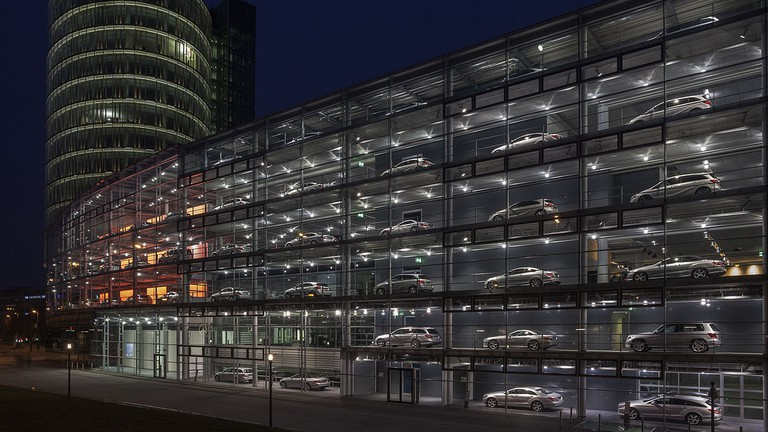 The Mercedes-Benz HQ and restaurant in Munich