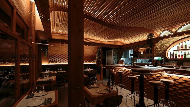 The stylish décor of L'Alegria, courtesy of restaurant