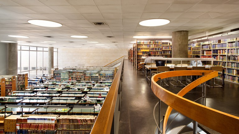 Reading room of the National Library of Israel offers a view of Jerusalem