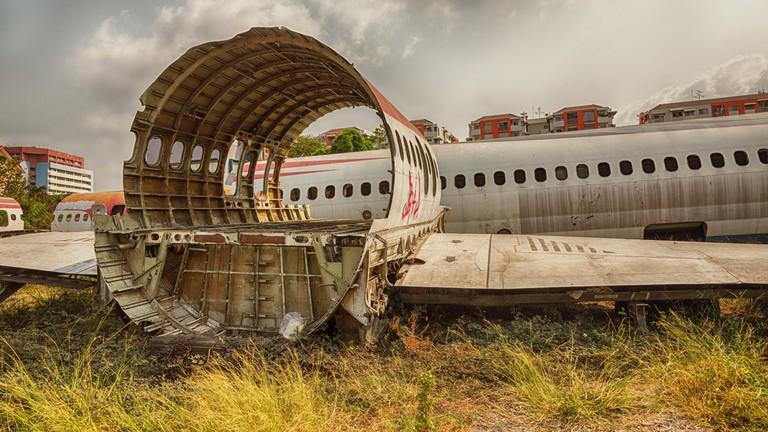 Airplane salvage graveyard in Bangkok