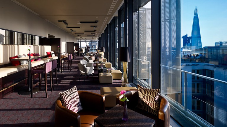 Skylounge has an inside and outside area that gives you a 360 degree view
