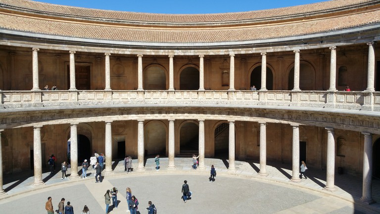 Internal courtyard of the Charles V Palace, home to Granada's Museum of Fine Arts