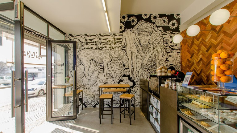 After grabbing a coffee, take a stroll through their in-house collection of exciting artworks