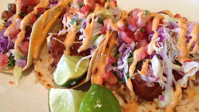 Mexican food, fish tacos