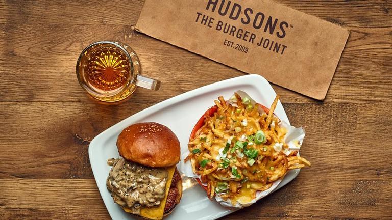 Hudsons burger and fries