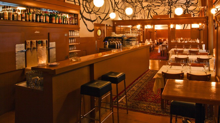 The striking interior of the restaurant
