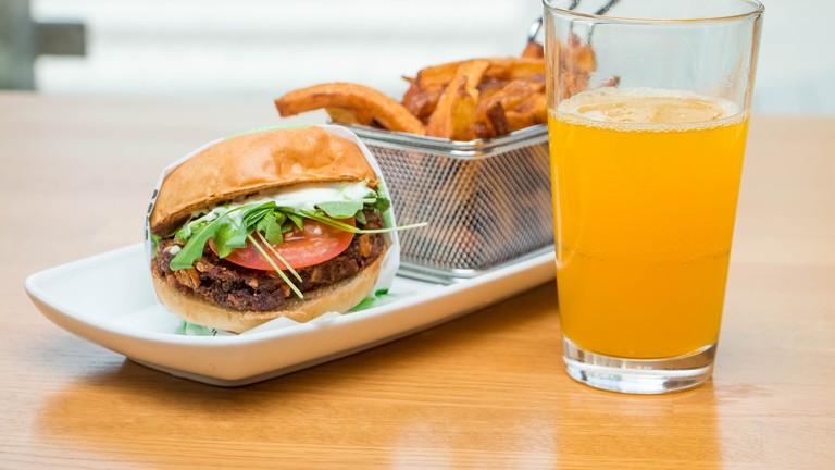 Vegan burger and fresh cut fries. Courtesy of Friends & Brgs.