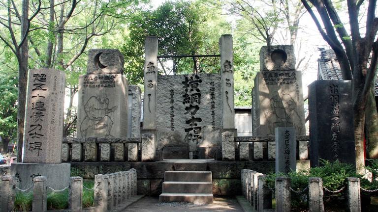 Stones devoted to sumo at Tomioka Hachiman Shrine