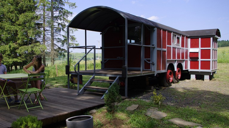 The wagon is 18m long and complete with hot tub