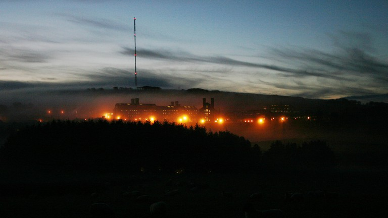 Dartmoor Prison at night from Princetown