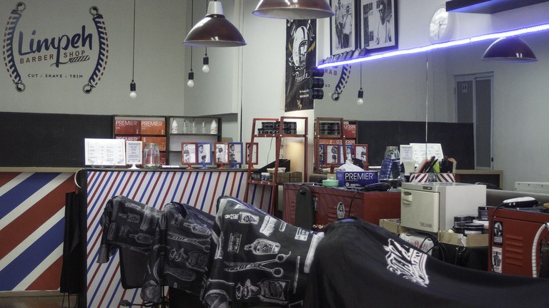 Calm before the storm at Limpeh Barbershop