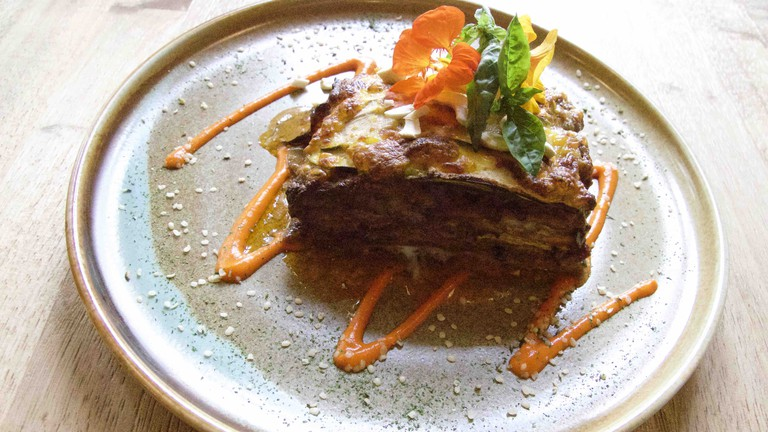Veggie lasagna at Réliva | courtesy of Réliva