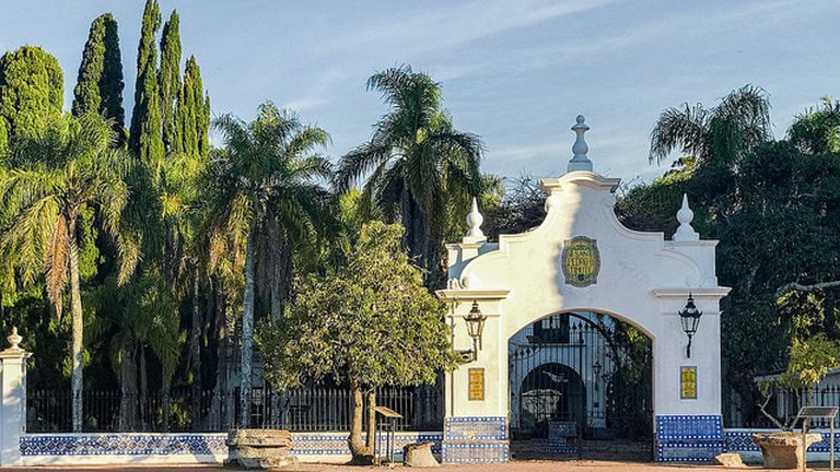 Front gate view of San Pedro del Timote, a countryside hotel in Florida, Uruguay