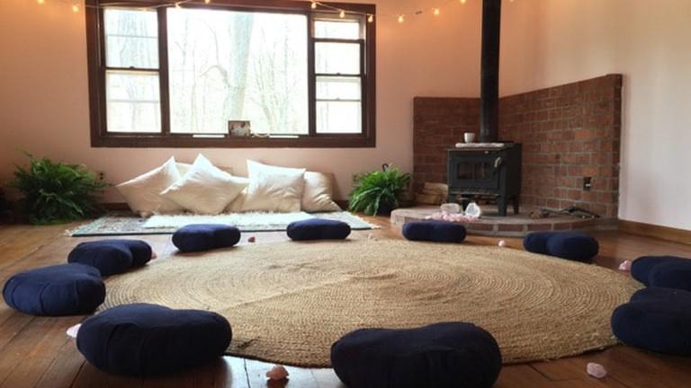 Inside the retreat cabin