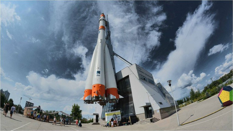 A real Vostok rocket outside Samara Space Museum