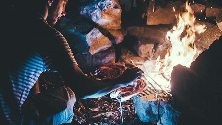 Bonfire in the campsite, Uruguay