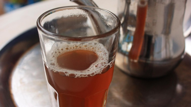 Glass of Moroccan mint tea