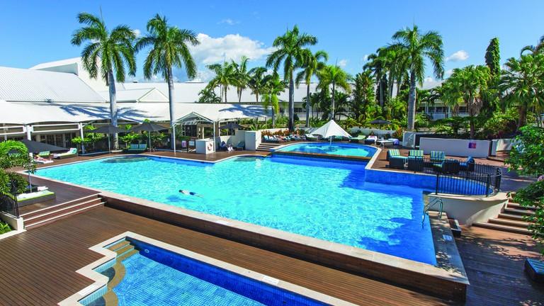 Taking a dip at the Shangri-La