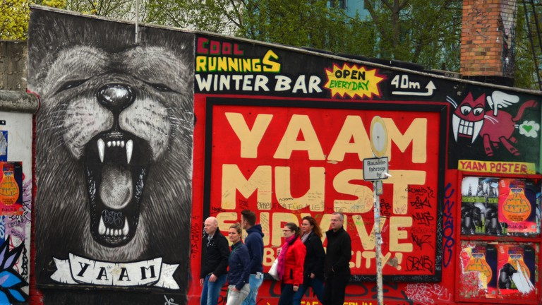 Outside YAAM in Berlin