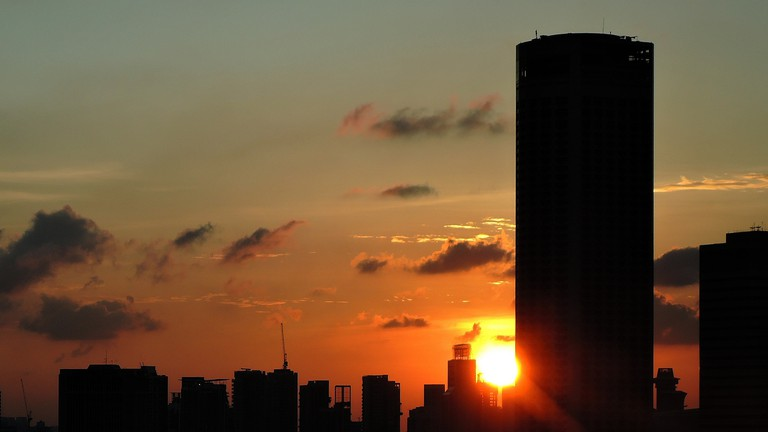 Singapore Sunset Over Skyscrapers