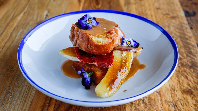 French toast at Copper restaurant with caramelised bacon & banana with toffee sauce