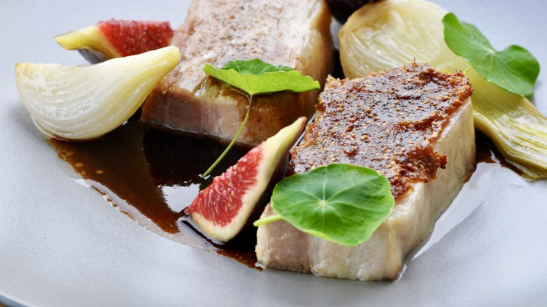 Pork belly and fig at Le Taquin