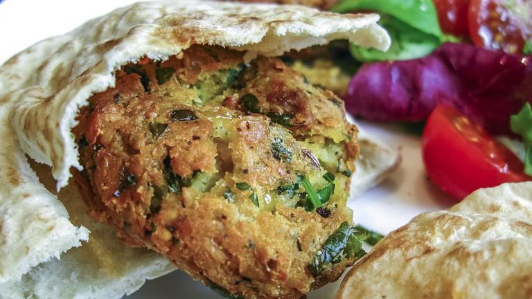 A fresh falafel wrap
