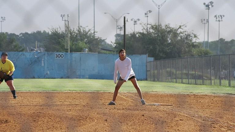 Playing softball in Austin