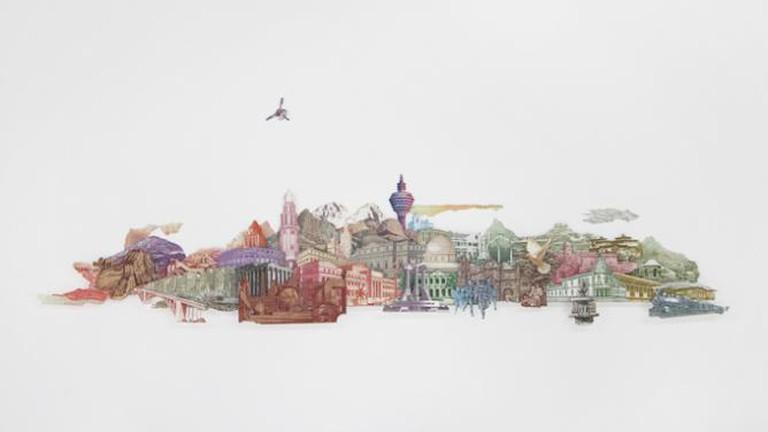 No Man's Land (2012), cut and paste of money 80 x 120 cm