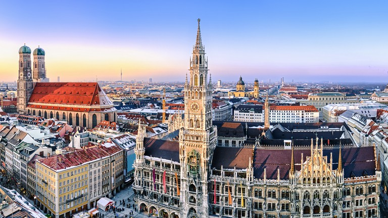 Panorama view of Munich city center showing the City Hall and the Frauenkirche