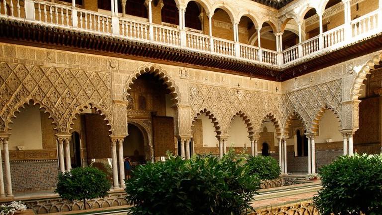 The internal courtyard of Seville's Alcazar palace