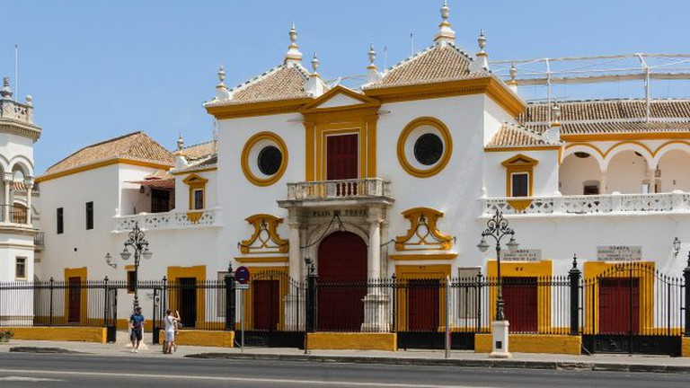 The beautiful Baroque entrance to Seville's historic bullring