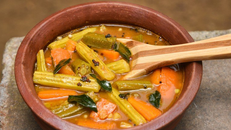 Lentil sambar - south Indian spicy hot veg curry/soup with lentil and vegetables