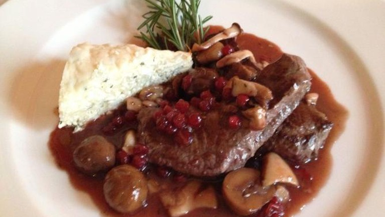 Venison fillet with cranbberies and chestnuts and cottage cheese dumplings