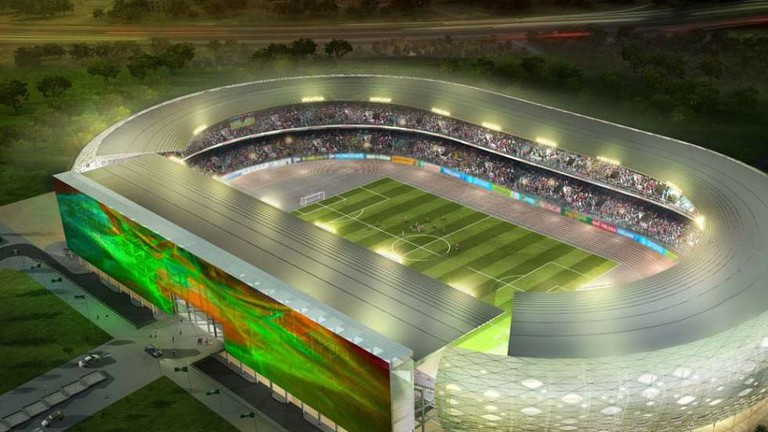 Aerial view of the Godswill Akpabio International Stadium at night