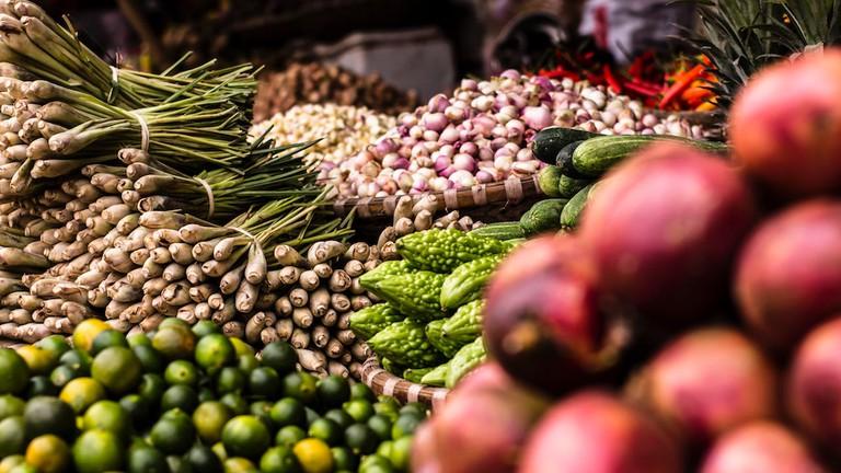 Tropical vegetable market