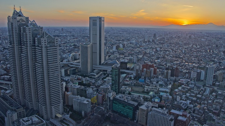 Evening view from the Tokyo Metropolitan Government Buildings North Tower Observatory