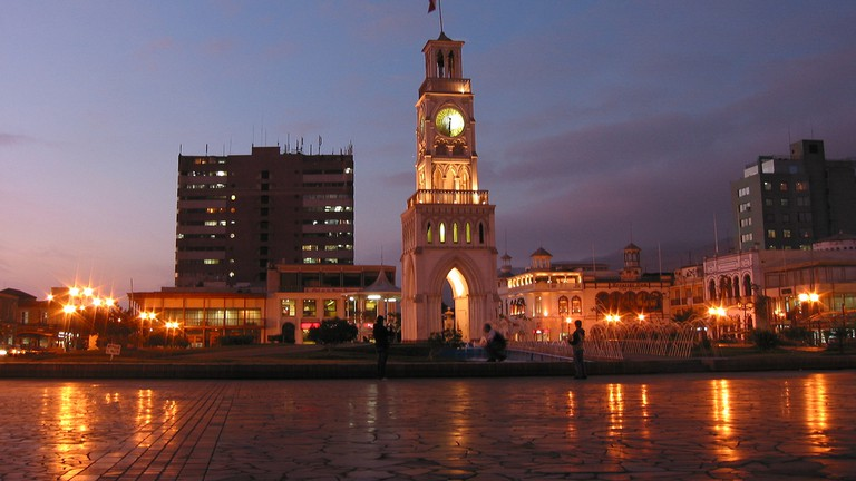 Iquique at night from the Municipal Theatre