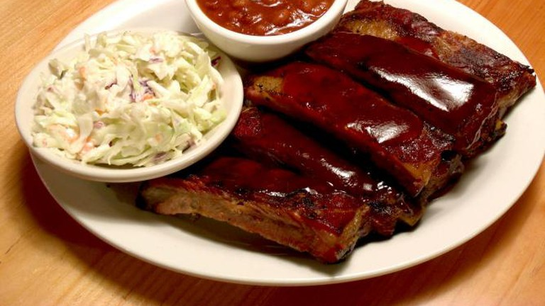 St. Louis ribs and Homemade Coleslaw and Baked Beans