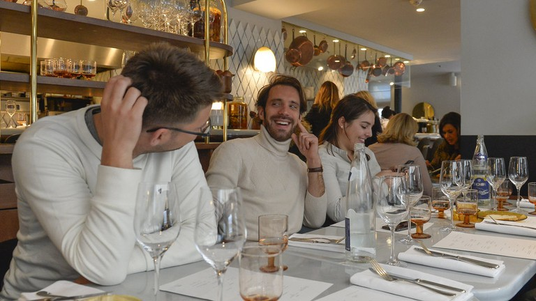 Jean-Eric Vergne having lunch at Balagan in Paris