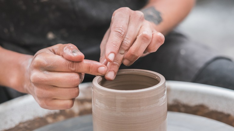 Making pottery at a Turning Earth Ceramics workshop